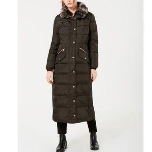London Fog Faux-Fur Trim Maxi Puffer Coat
